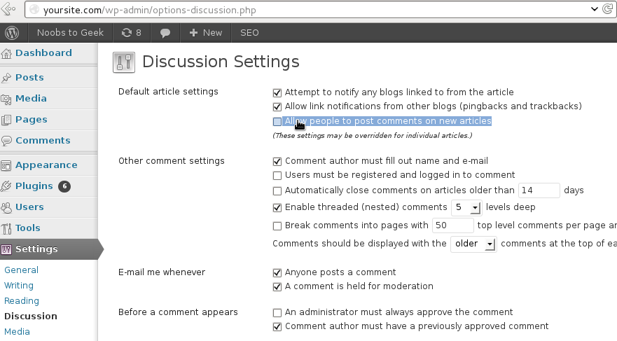 Disable Comments WordPress Upcoming Post